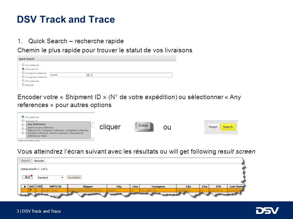 3 | DSV Track and Trace DSV Track and Trace 1.Quick Search – recherche rapide Chemin le plus rapide pour trouver le statut de vos livraisons Encoder v