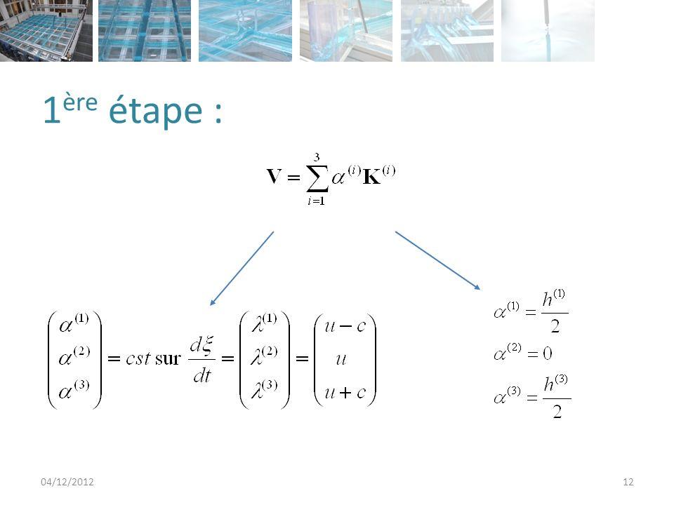 2 2 2 nd étape : la reconstruction 04/12/201213 Maille iMaille j t = n+1/2 t V L n+1/2 ξ0ξ0 ξcξc ξ =cst n h(t n, ξ c ) h(t n, ξ 0 )