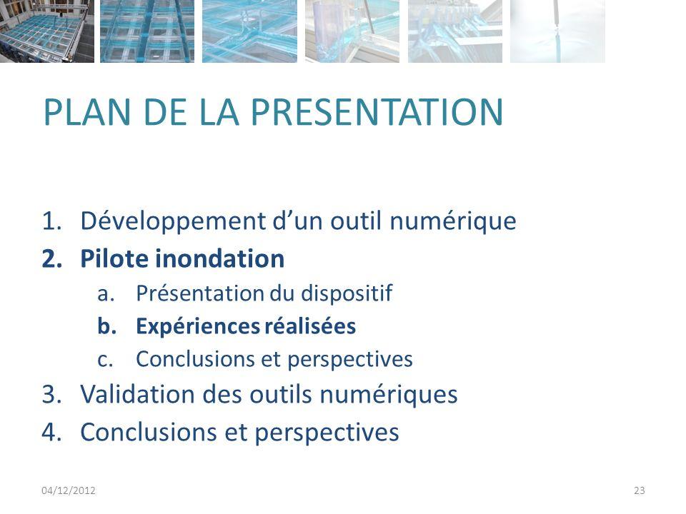 PLAN DE LA PRESENTATION 1.Développement dun outil numérique 2.Pilote inondation a.Présentation du dispositif b.Expériences réalisées c.Conclusions et