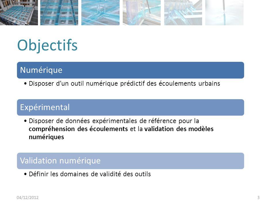 Objectifs 04/12/20123 Numérique Disposer dun outil numérique prédictif des écoulements urbains Expérimental Disposer de données expérimentales de référence pour la compréhension des écoulements et la validation des modèles numériques Validation numérique Définir les domaines de validité des outils