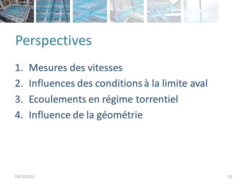 Perspectives 1.Mesures des vitesses 2.Influences des conditions à la limite aval 3.Ecoulements en régime torrentiel 4.Influence de la géométrie 04/12/