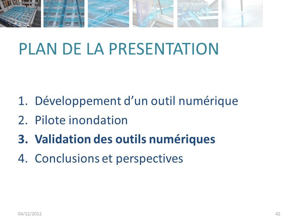 PLAN DE LA PRESENTATION 1.Développement dun outil numérique 2.Pilote inondation 3.Validation des outils numériques 4.Conclusions et perspectives 04/12/201242