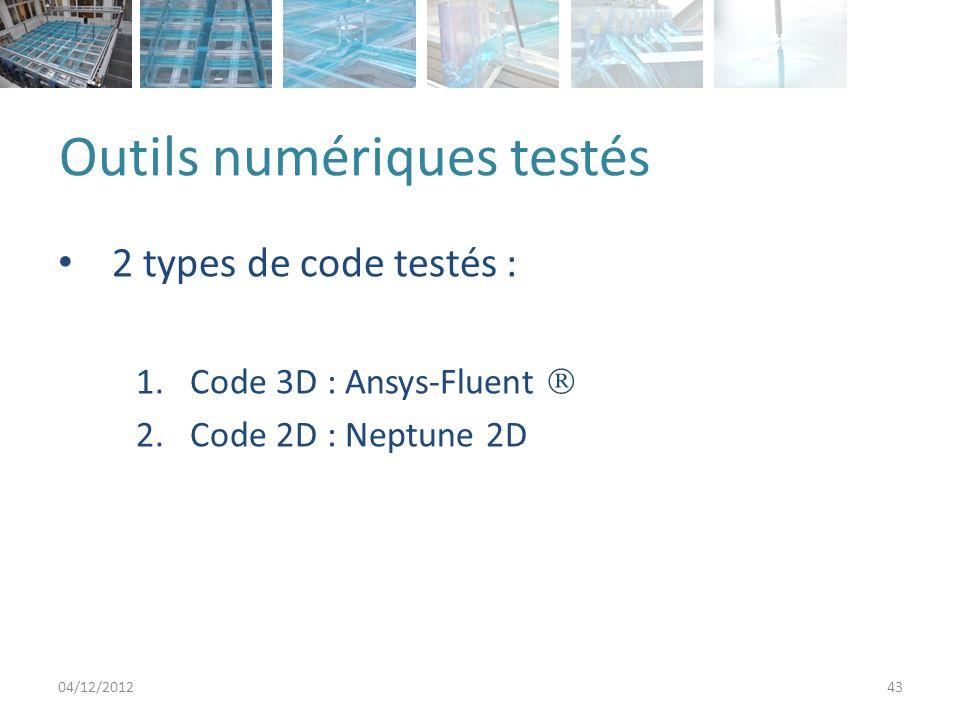 Outils numériques testés 2 types de code testés : 1.Code 3D : Ansys-Fluent 2.Code 2D : Neptune 2D 04/12/201243