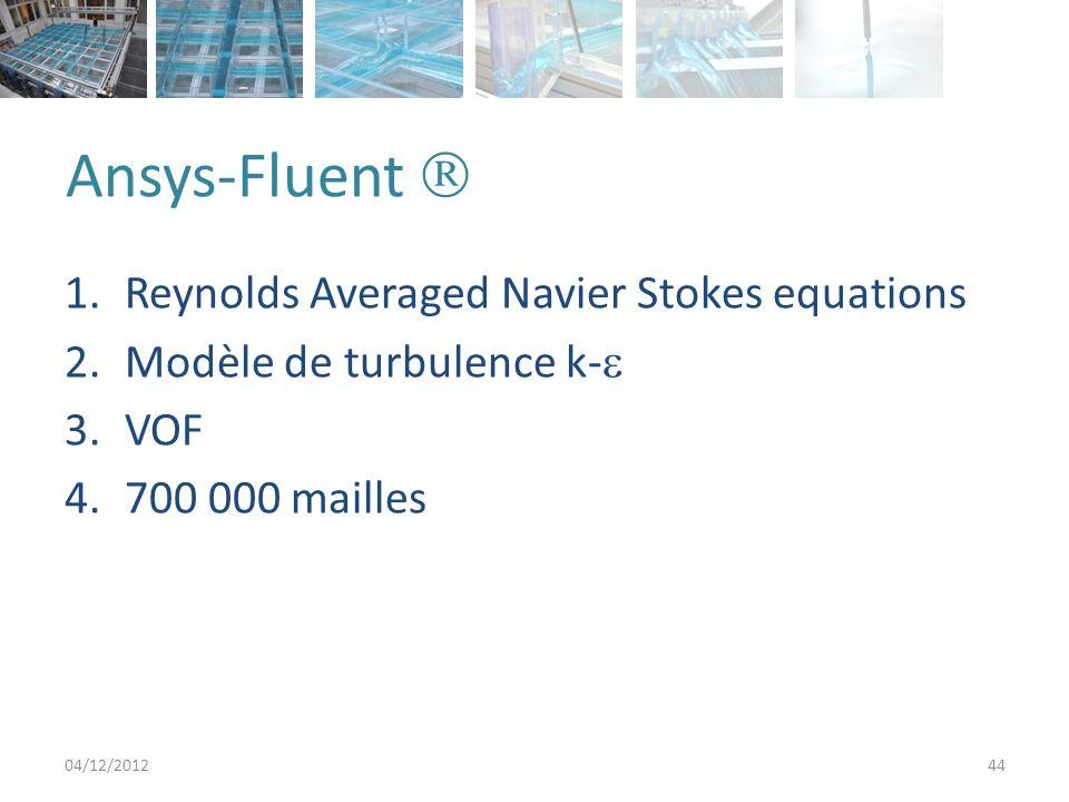 Ansys-Fluent 04/12/201244 1.Reynolds Averaged Navier Stokes equations 2.Modèle de turbulence k- 3.VOF 4.700 000 mailles