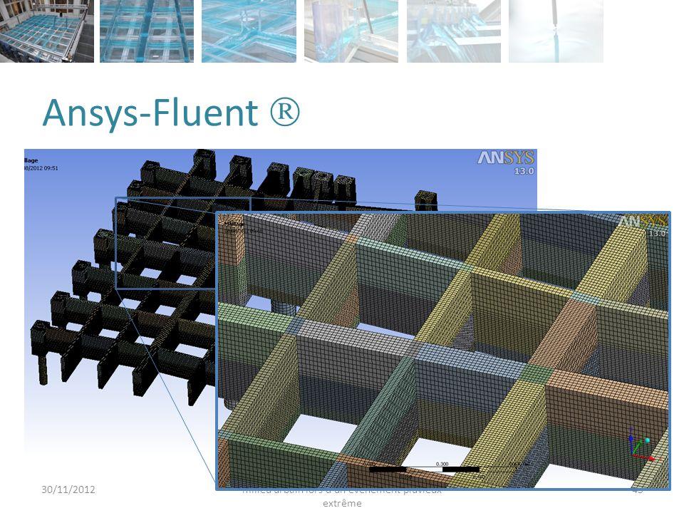 Ansys-Fluent 30/11/2012 Araud, Q. - Simulation des inondations en milieu urbain lors d'un évènement pluvieux extrême 45