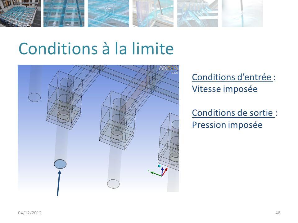 Conditions à la limite 04/12/201246 Conditions dentrée : Vitesse imposée Conditions de sortie : Pression imposée