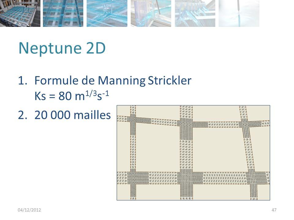 Neptune 2D 1.Formule de Manning Strickler Ks = 80 m 1/3 s -1 2.20 000 mailles 04/12/201247