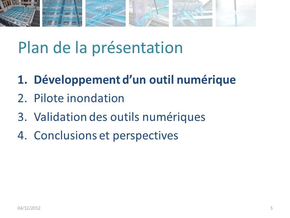 Outil développé au laboratoire 04/12/20126 Equation de Barré de Saint-Venant 2D Eléments finis Discontinuous Galerkin