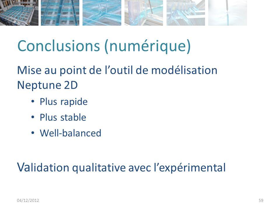 Conclusions (numérique) Mise au point de loutil de modélisation Neptune 2D Plus rapide Plus stable Well-balanced Va lidation qualitative avec lexpérimental 04/12/201259