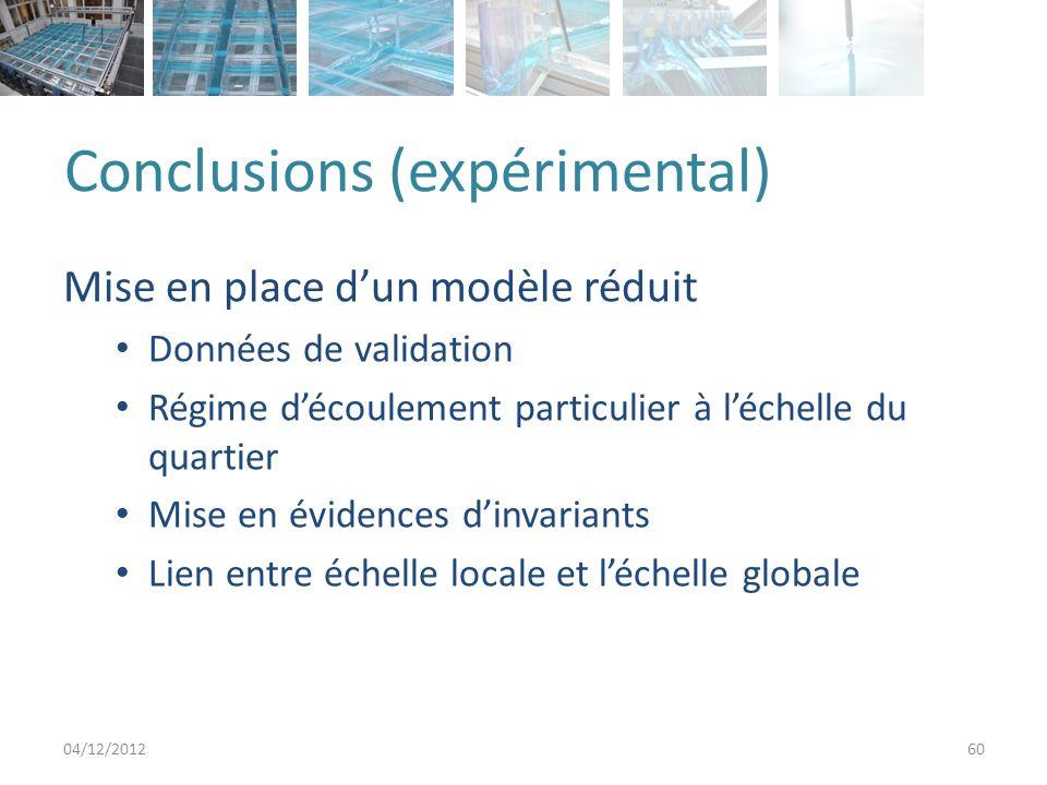 Conclusions (expérimental) Mise en place dun modèle réduit Données de validation Régime découlement particulier à léchelle du quartier Mise en évidences dinvariants Lien entre échelle locale et léchelle globale 04/12/201260
