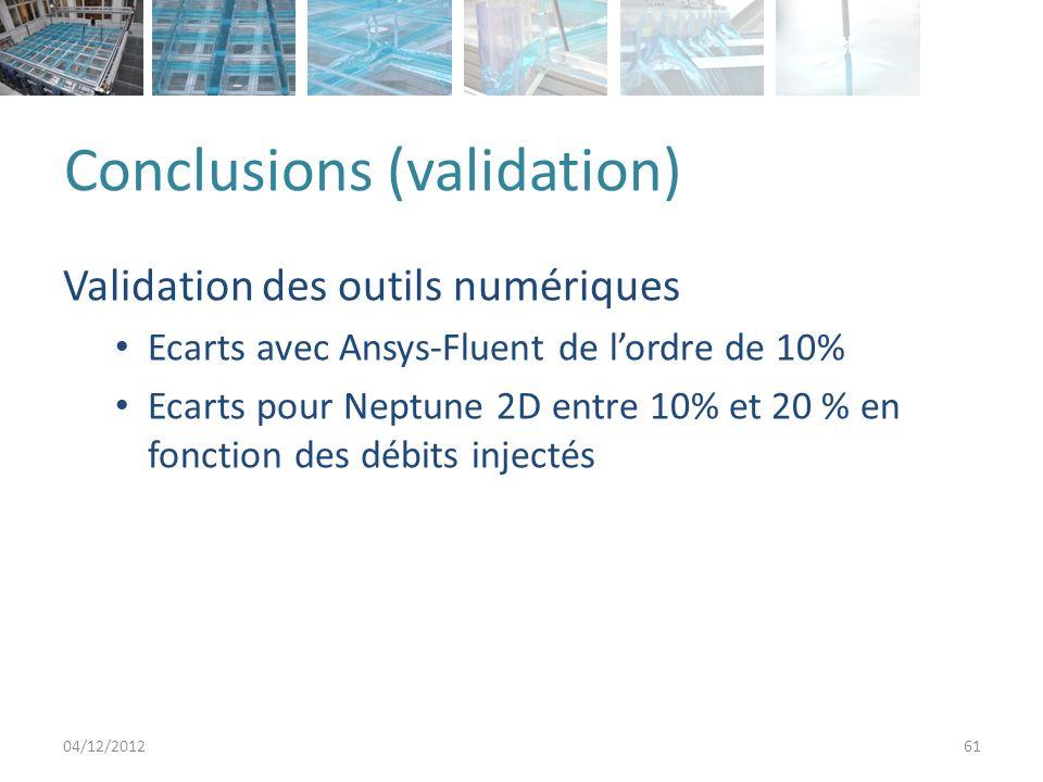 Conclusions (validation) Validation des outils numériques Ecarts avec Ansys-Fluent de lordre de 10% Ecarts pour Neptune 2D entre 10% et 20 % en fonction des débits injectés 04/12/201261