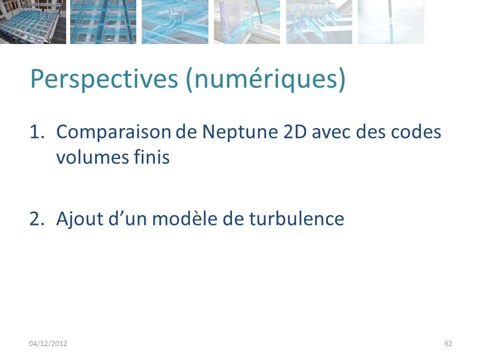Perspectives (expérimental) 1.Mesures de vitesses 2.Influence des conditions aux limites aval 3.Ecoulements torrentiels 4.Nouvelles géométries 04/12/201263