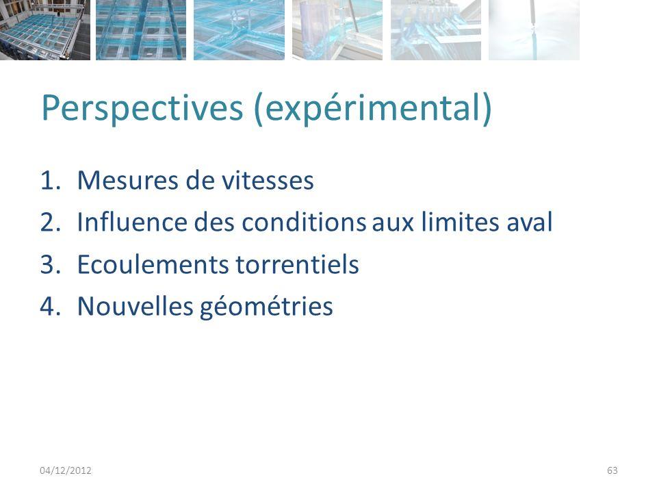 Perspectives (expérimental) 1.Mesures de vitesses 2.Influence des conditions aux limites aval 3.Ecoulements torrentiels 4.Nouvelles géométries 04/12/2