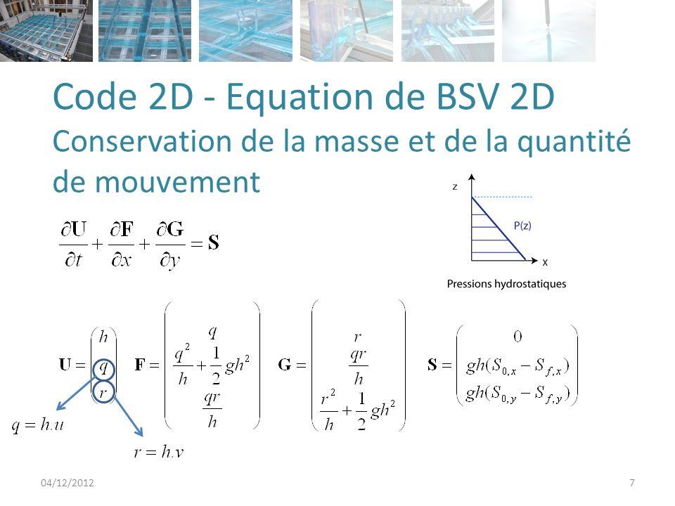 Code 2D - Equation de BSV 2D Conservation de la masse et de la quantité de mouvement 04/12/20127