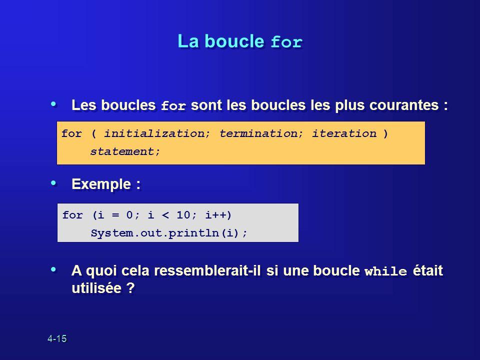 4-15 La boucle for Les boucles for sont les boucles les plus courantes : Exemple : A quoi cela ressemblerait-il si une boucle while était utilisée ? L