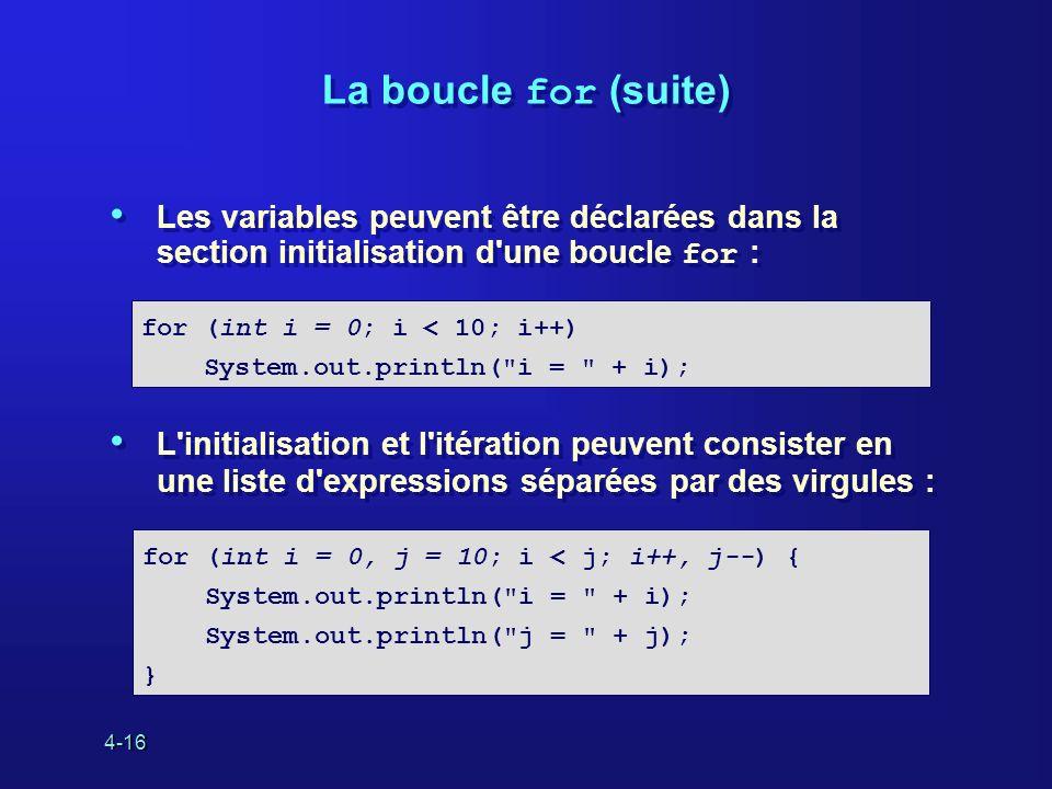 4-16 La boucle for (suite) Les variables peuvent être déclarées dans la section initialisation d'une boucle for : L'initialisation et l'itération peuv