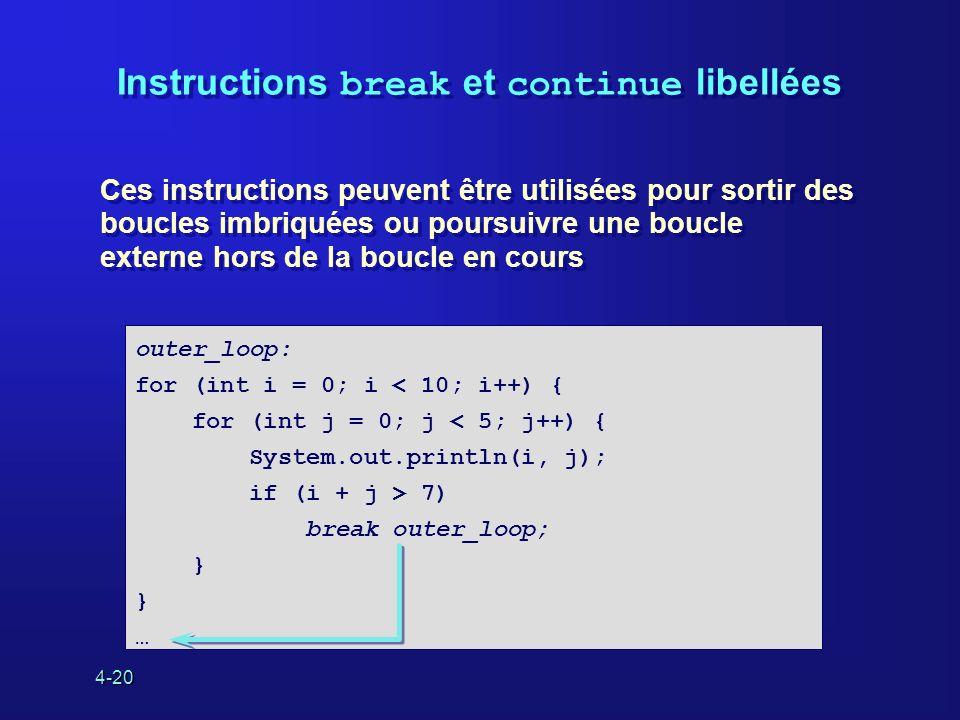 4-20 Instructions break et continue libellées Ces instructions peuvent être utilisées pour sortir des boucles imbriquées ou poursuivre une boucle exte