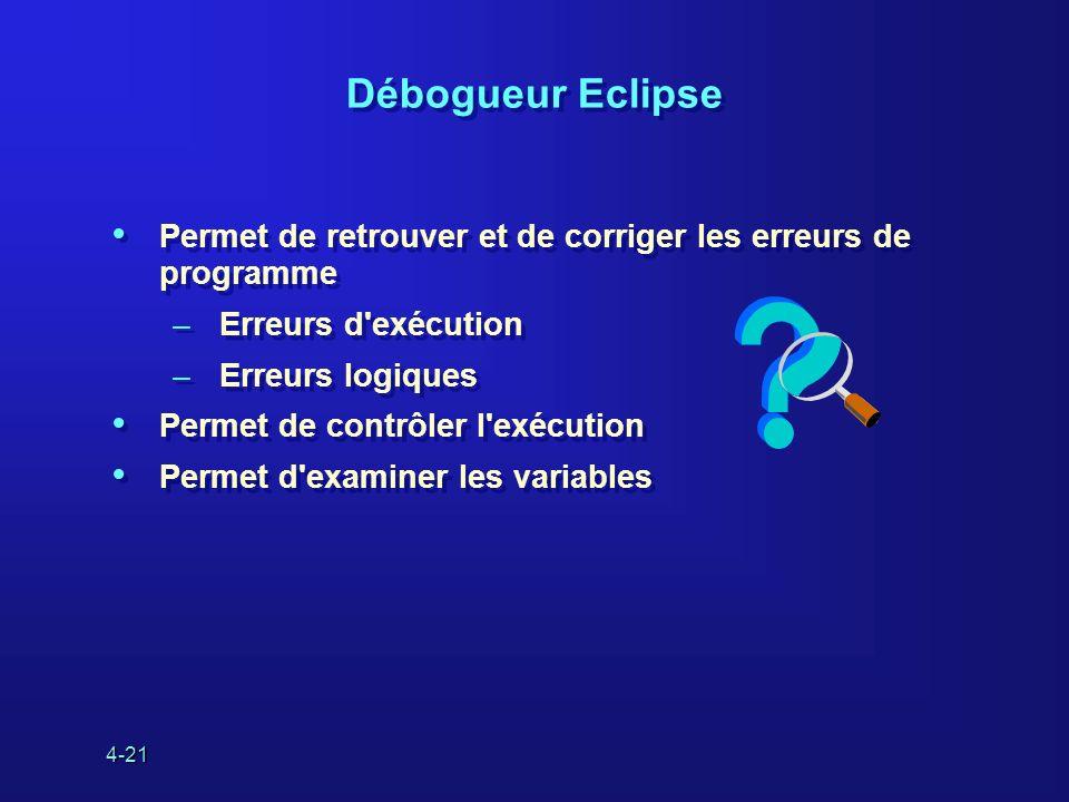 4-21 Débogueur Eclipse Permet de retrouver et de corriger les erreurs de programme –Erreurs d'exécution –Erreurs logiques Permet de contrôler l'exécut
