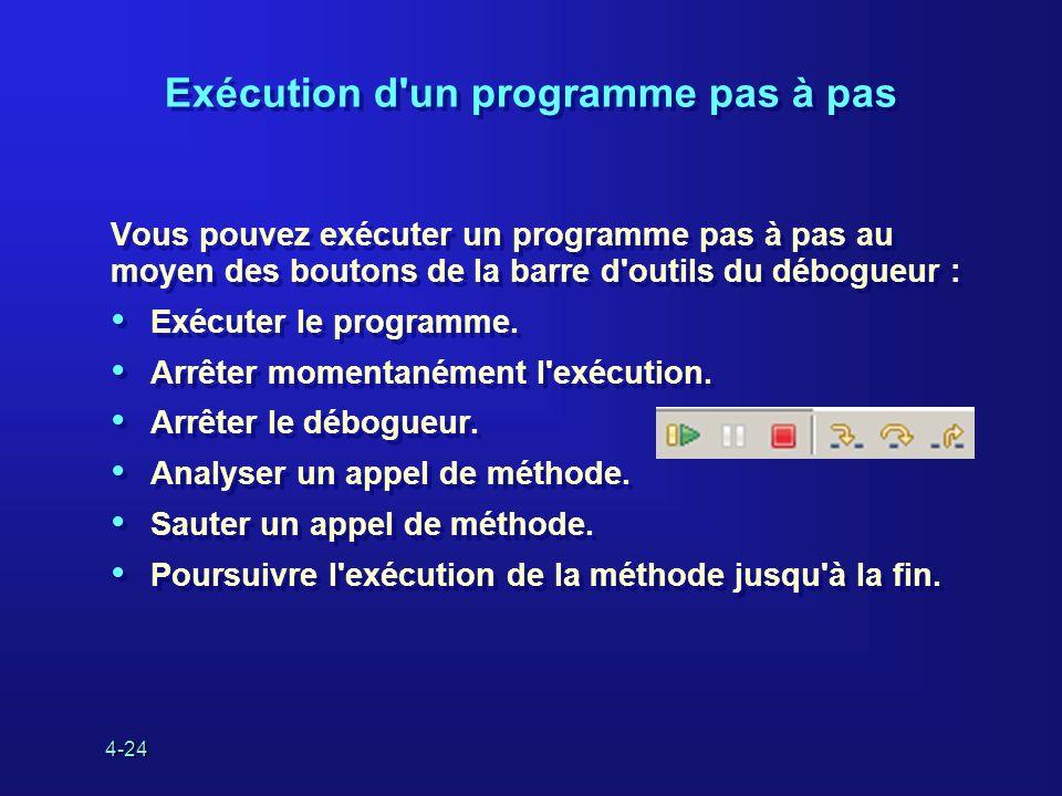 4-24 Exécution d'un programme pas à pas Vous pouvez exécuter un programme pas à pas au moyen des boutons de la barre d'outils du débogueur : Exécuter