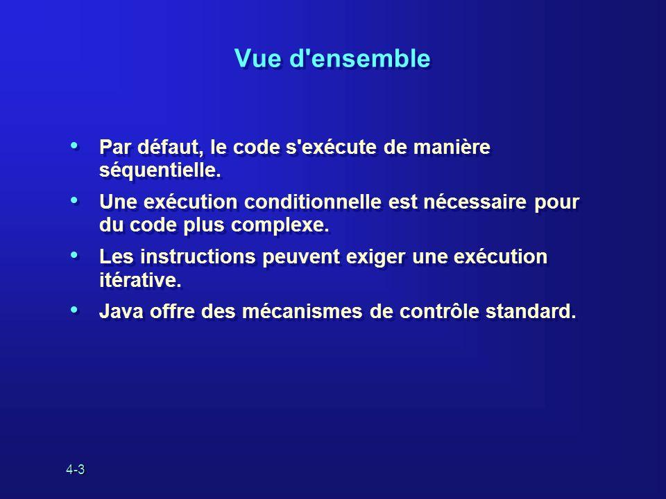 4-14 Les boucles do…while effectuent le test à la fin : Exemple : Les boucles do…while effectuent le test à la fin : Exemple : do statement; while ( termination ); int i = 0; do { System.out.println( i = + i); i++; } while (i < 10); La boucle do…while