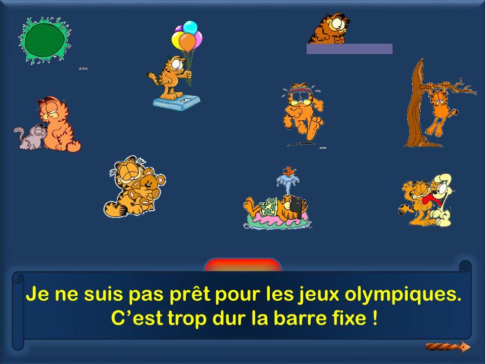 6 Je ne suis pas prêt pour les jeux olympiques. Cest trop dur la barre fixe !