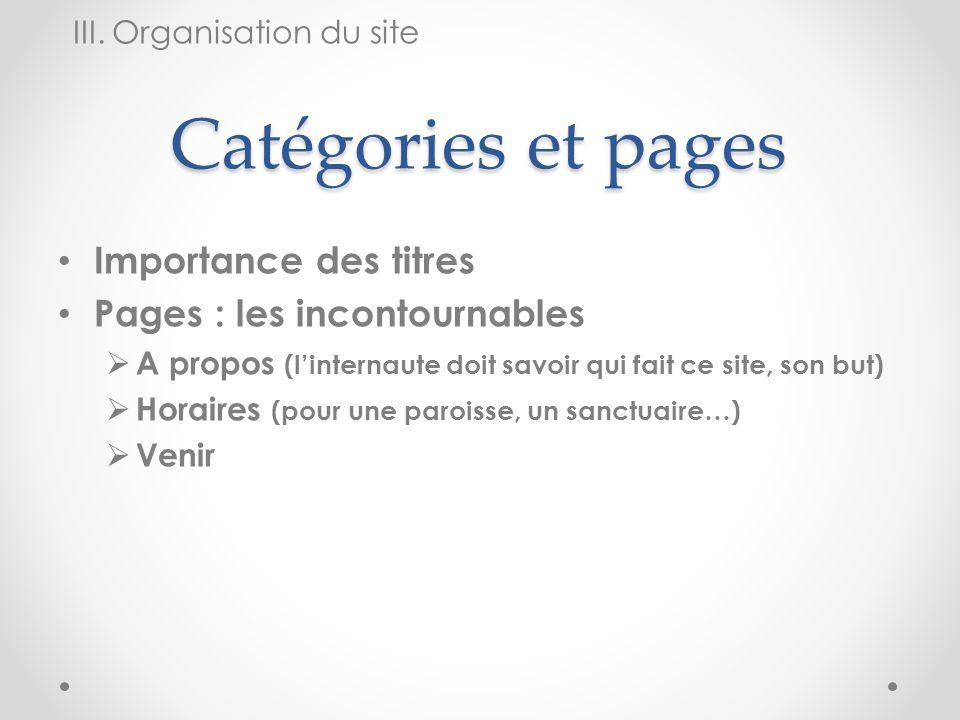 Catégories et pages Importance des titres Pages : les incontournables A propos (linternaute doit savoir qui fait ce site, son but) Horaires (pour une