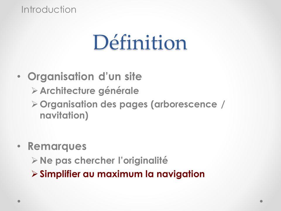 Définition Organisation dun site Architecture générale Organisation des pages (arborescence / navitation) Remarques Ne pas chercher loriginalité Simpl