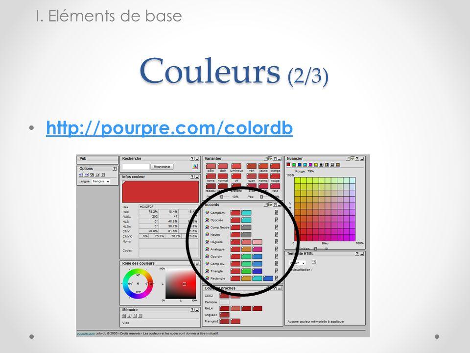 Couleurs (2/3) http://pourpre.com/colordb I. Eléments de base