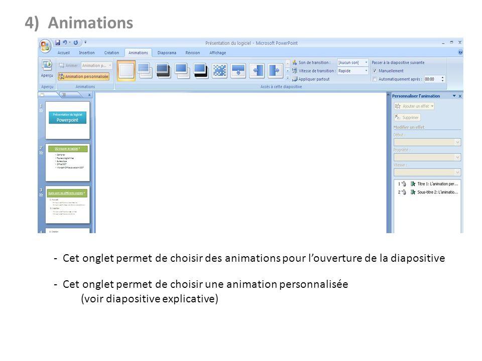 4) Animations - Cet onglet permet dajouter du son et de choisir la vitesse de transition - Cet onglet permet de choisir des animations pour louverture de la diapositive - Cet onglet permet de choisir une animation personnalisée (voir diapositive explicative)
