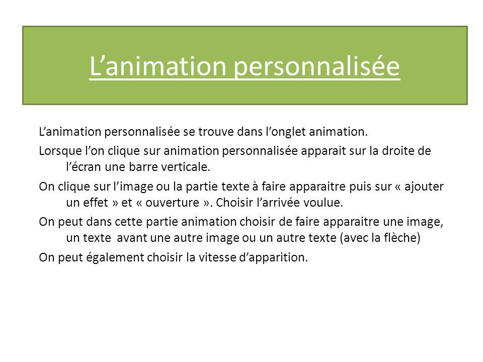 Lanimation personnalisée Lanimation personnalisée se trouve dans longlet animation.