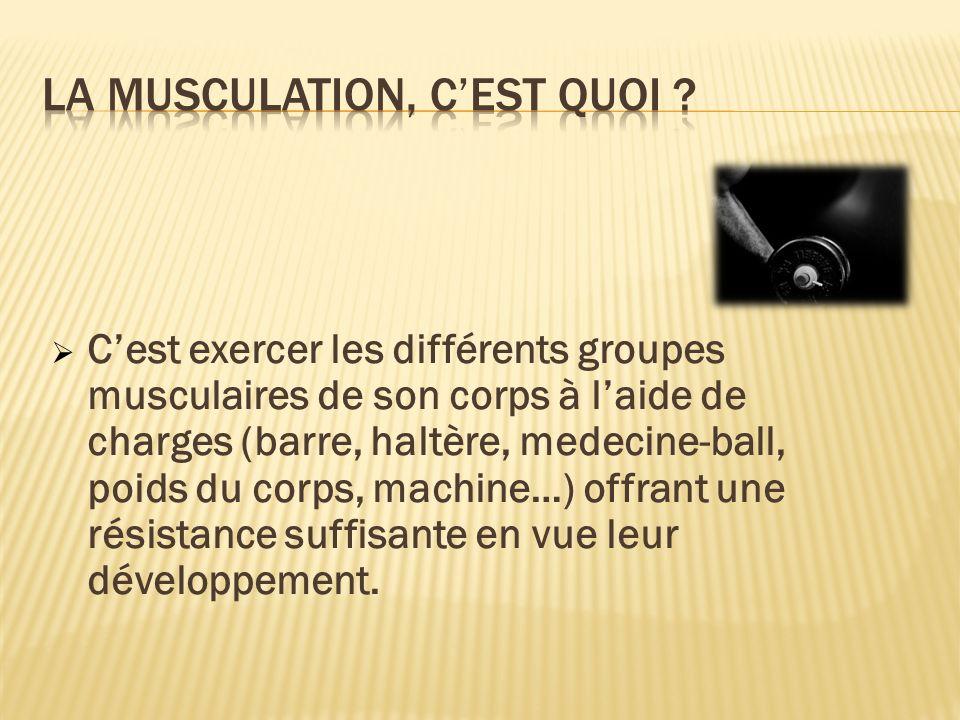 Cest exercer les différents groupes musculaires de son corps à laide de charges (barre, haltère, medecine-ball, poids du corps, machine…) offrant une