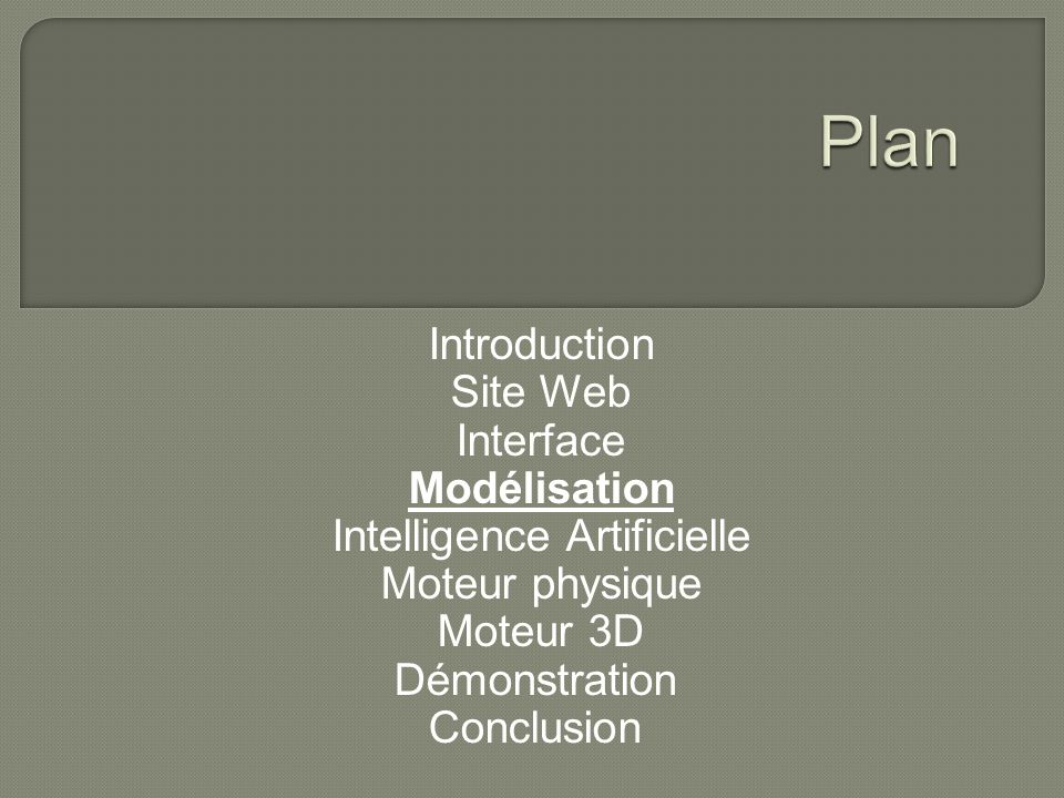 Introduction Site Web Interface Modélisation Intelligence Artificielle Moteur physique Moteur 3D Démonstration Conclusion