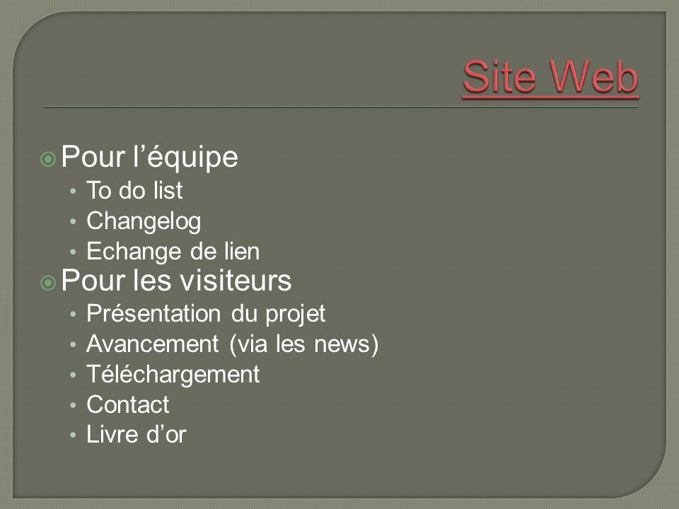 Pour léquipe To do list Changelog Echange de lien Pour les visiteurs Présentation du projet Avancement (via les news) Téléchargement Contact Livre dor