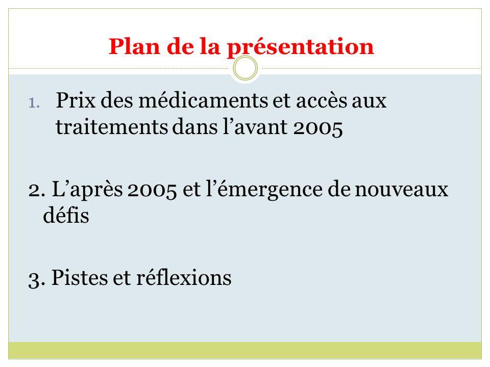 Plan de la présentation 1. Prix des médicaments et accès aux traitements dans lavant 2005 2. Laprès 2005 et lémergence de nouveaux défis 3. Pistes et