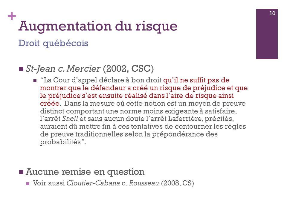 + Augmentation du risque St-Jean c.