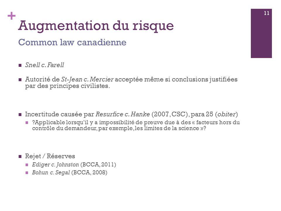 + Augmentation du risque Snell c. Farell Autorité de St-Jean c.