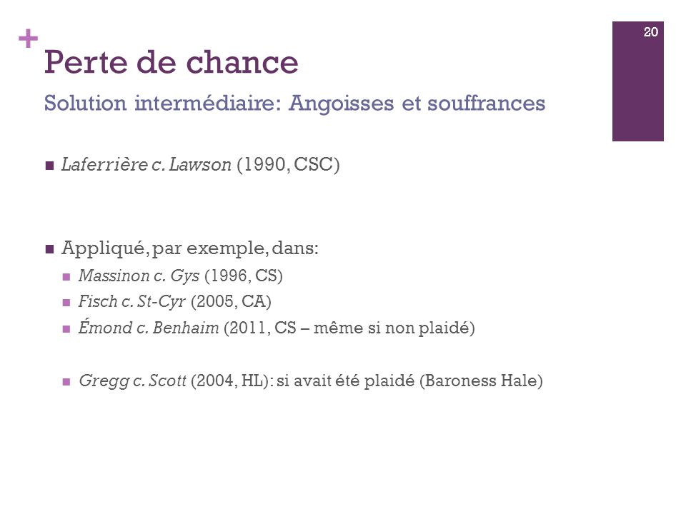 + Perte de chance Laferrière c. Lawson (1990, CSC) Appliqué, par exemple, dans: Massinon c.