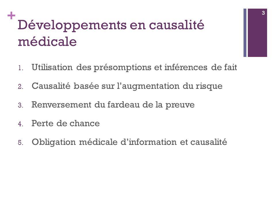 + Développements en causalité médicale 1. Utilisation des présomptions et inférences de fait 2.