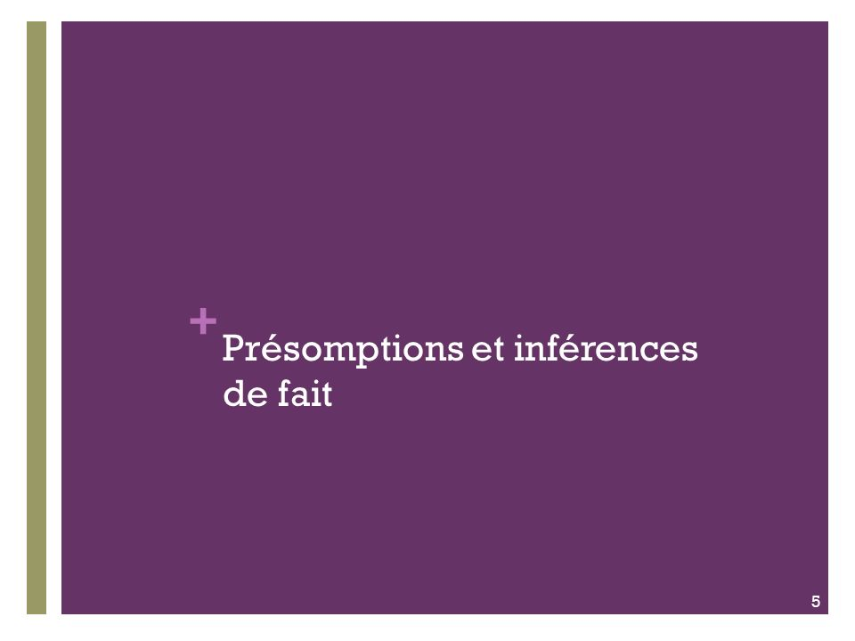 + Présomptions et inférences de fait 5