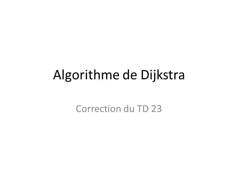Algorithme de Dijkstra Correction du TD 23