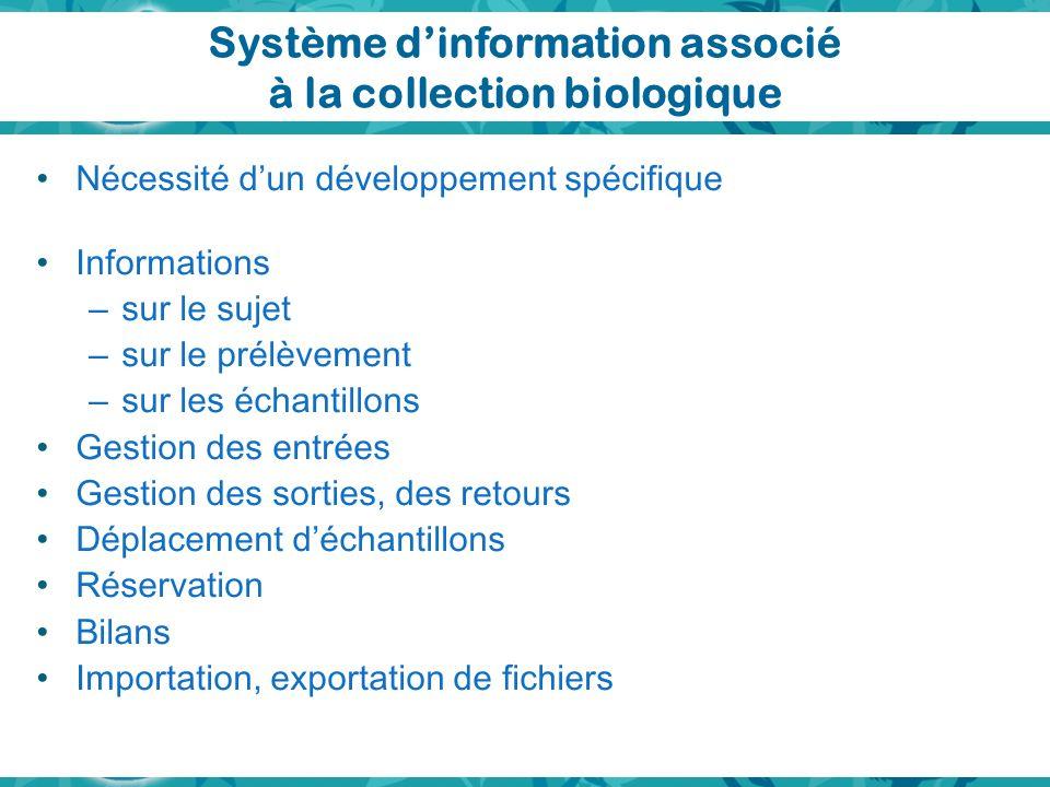 Système dinformation associé à la collection biologique Nécessité dun développement spécifique Informations – sur le sujet – sur le prélèvement – sur