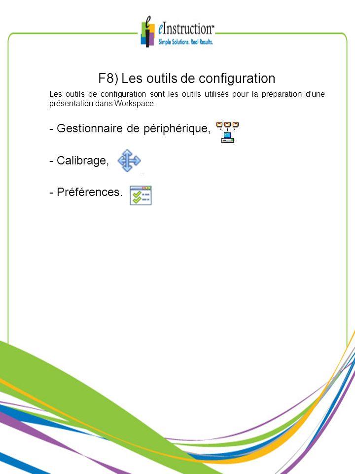 F8) Les outils de configuration Les outils de configuration sont les outils utilisés pour la préparation d'une présentation dans Workspace. - Gestionn