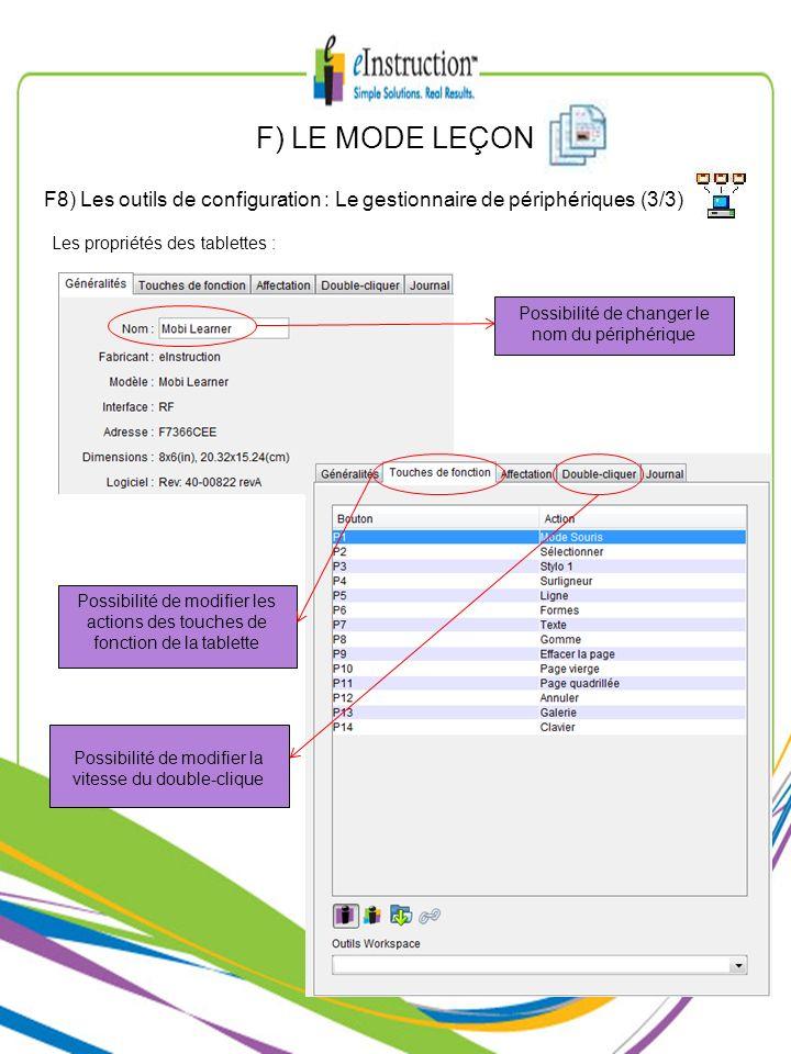 F) LE MODE LEÇON F8) Les outils de configuration : Le gestionnaire de périphériques (3/3) Les propriétés des tablettes : Possibilité de modifier les a