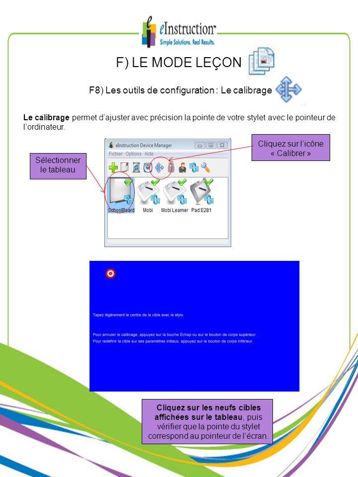 F) LE MODE LEÇON F8) Les outils de configuration : Le calibrage Cliquez sur licône « Calibrer » Sélectionner le tableau Cliquez sur les neufs cibles a
