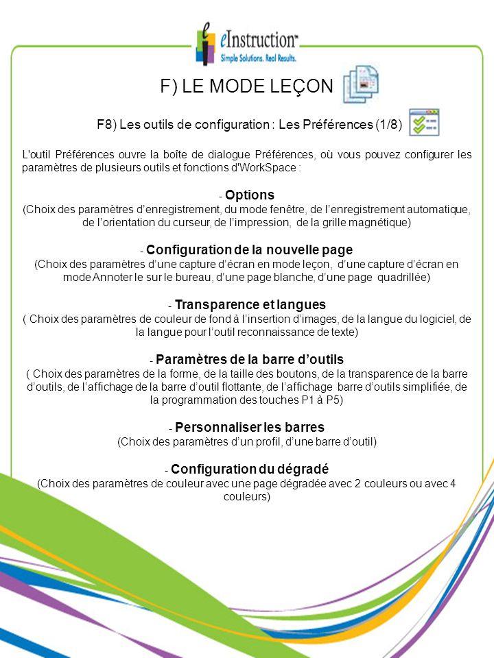 F) LE MODE LEÇON F8) Les outils de configuration : Les Préférences (1/8) L'outil Préférences ouvre la boîte de dialogue Préférences, où vous pouvez co