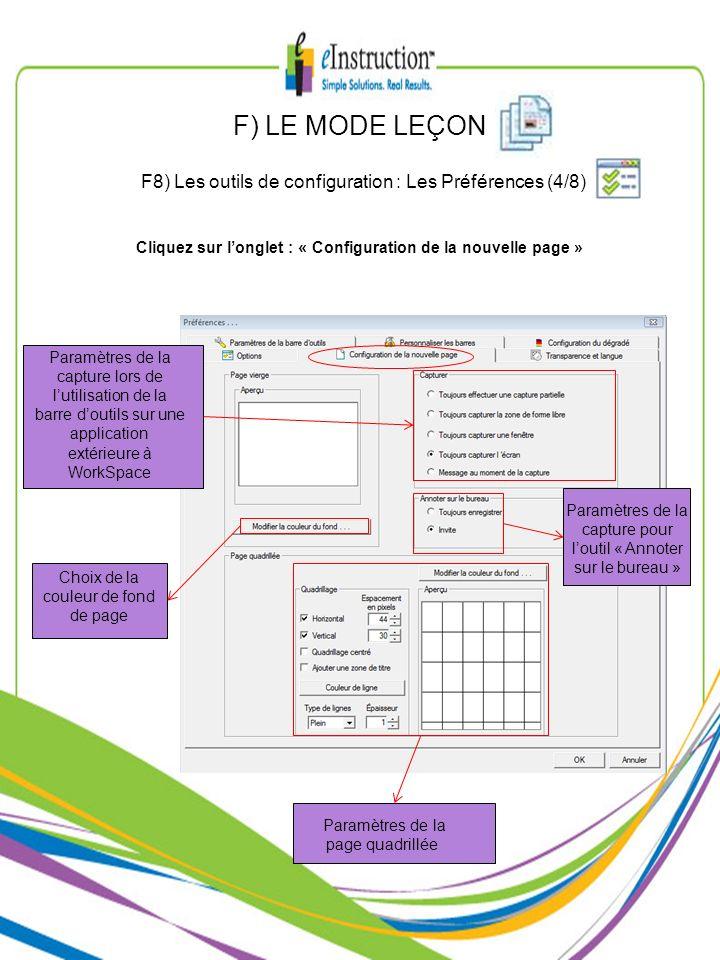 Paramètres de la page quadrillée Paramètres de la capture lors de lutilisation de la barre doutils sur une application extérieure à WorkSpace Choix de