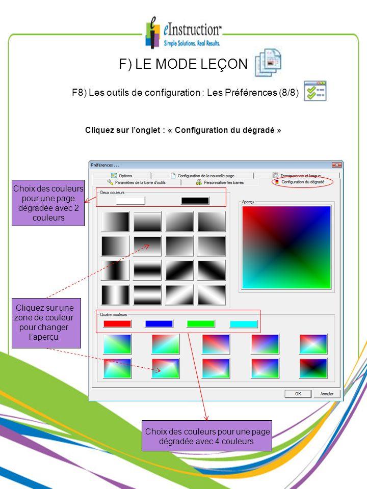 Choix des couleurs pour une page dégradée avec 4 couleurs Choix des couleurs pour une page dégradée avec 2 couleurs Cliquez sur une zone de couleur po