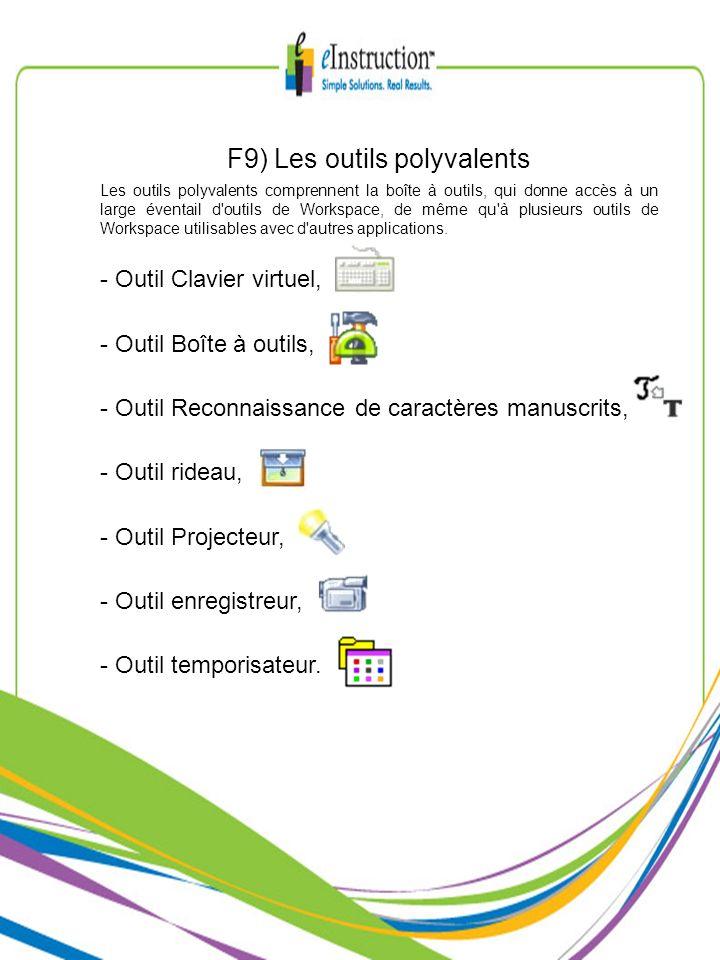F9) Les outils polyvalents Les outils polyvalents comprennent la boîte à outils, qui donne accès à un large éventail d'outils de Workspace, de même qu