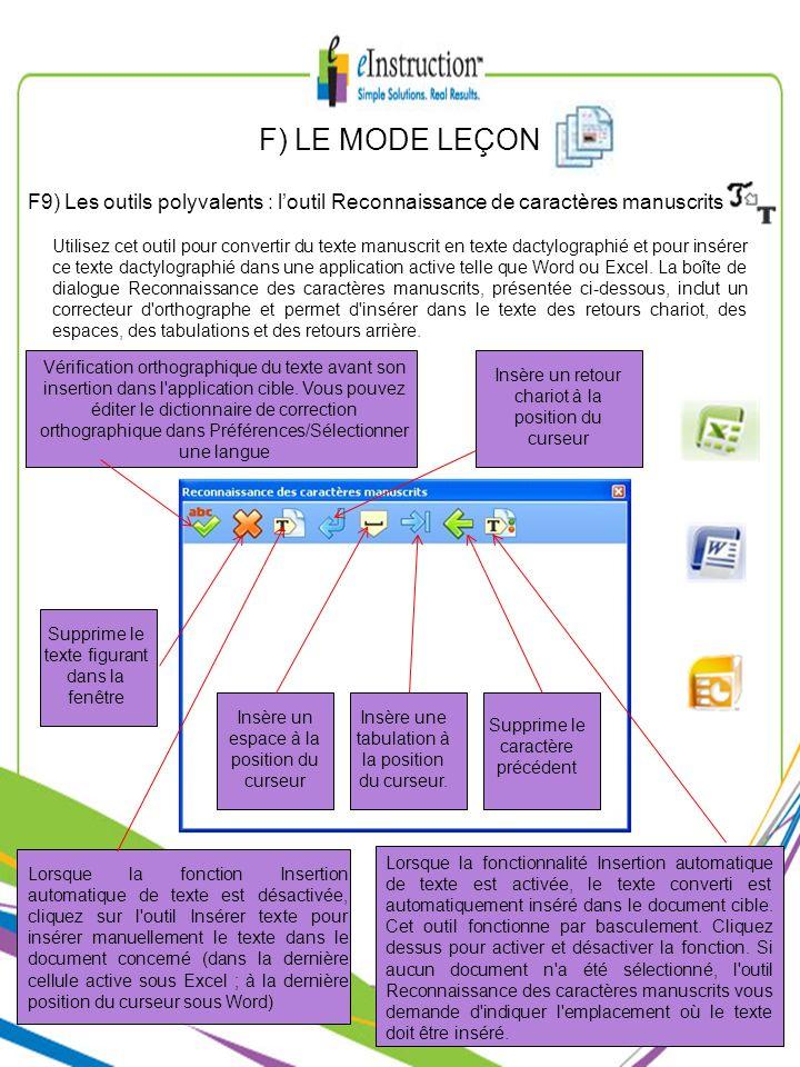 F) LE MODE LEÇON F9) Les outils polyvalents : loutil Reconnaissance de caractères manuscrits Utilisez cet outil pour convertir du texte manuscrit en t