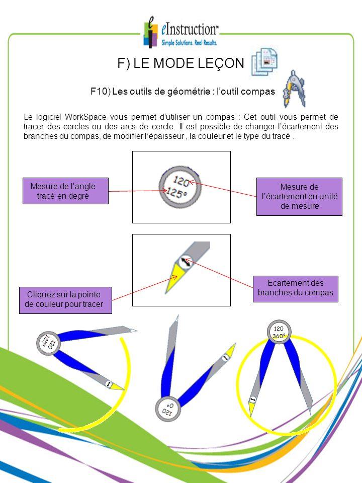 F) LE MODE LEÇON F10) Les outils de géométrie : loutil compas Le logiciel WorkSpace vous permet dutiliser un compas : Cet outil vous permet de tracer
